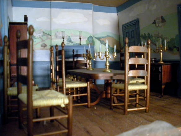 The dollhouse dining room with hand painted mural