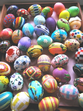 Mom's collection of easter eggs that she hand-made