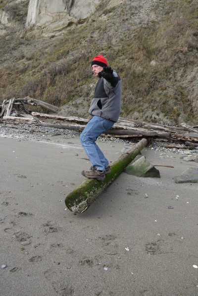 R surfing on a piece of wood